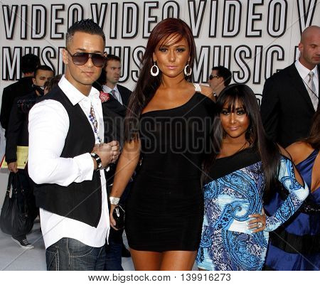 Nicole 'Snooki' Polizzi, Mike Sorrentino and Jenni Farley at the 2010 MTV Video Music Awards held at the Nokia Theatre L.A. Live in Los Angeles, USA on September 12, 2010.