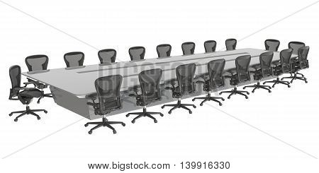 3D Illustration office furniture isolated on white background