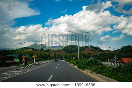 road mountain hill highway forest countryside Thai