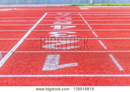 Running track numbers in stadium