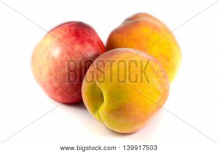 Peach with isolated on white background, fruit from Georgia.