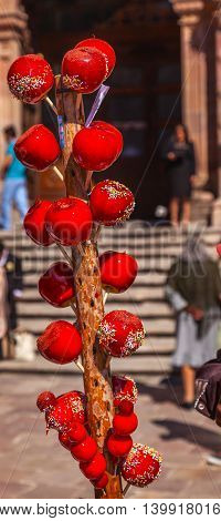 Colorful Red Candy Apples Dolores Hidalgo Mexico