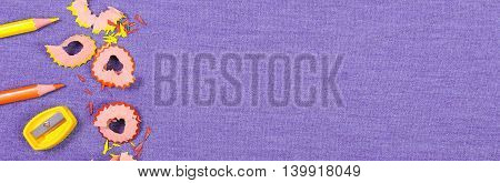 Frame of school supplies on jeans background copy space for text or inscription back to school concept