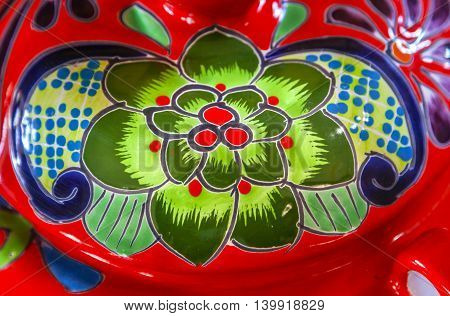 Colorful Souvenir Ceramic Green Red Flowers Pot Decoration Dolores Hidalgo Mexico