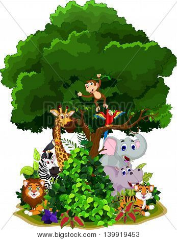 funny animal cartoon with forest landscape background