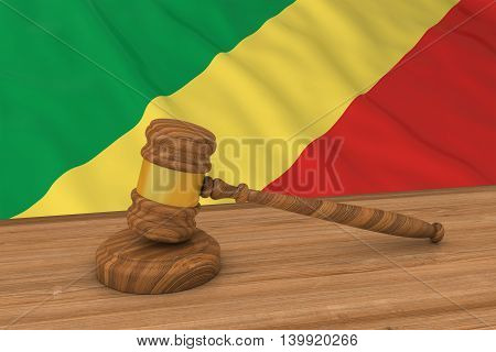 Congolese Law Concept - Flag Of Congo Behind Judge's Gavel 3D Illustration