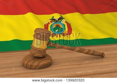 Bolivian Law Concept - Flag Of Bolivia Behind Judge's Gavel 3D Illustration