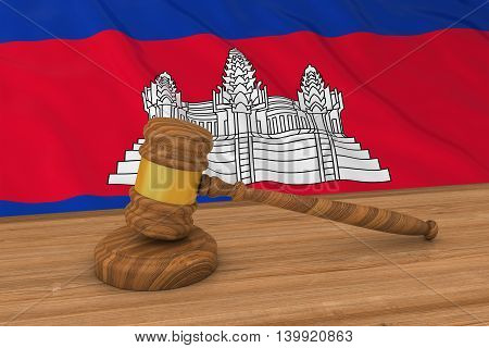 Cambodian Law Concept - Flag Of Cambodia Behind Judge's Gavel 3D Illustration