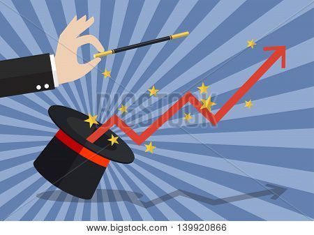 Business hand with graph flying out of the magic hat. Vector illustration