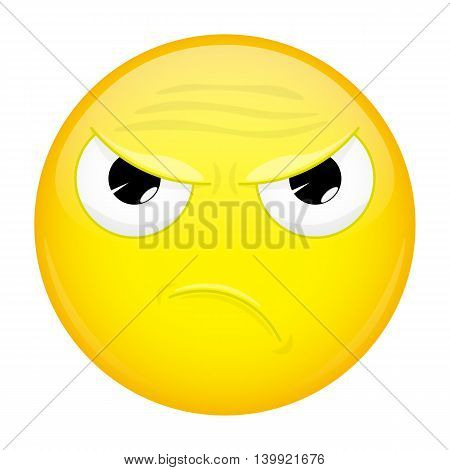 Angry emoji. Evil emotion. Wicked emoticon. Vector illustration smile icon.