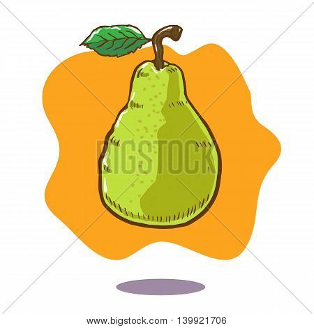 Vector hand drawn illustration of a floating green pear fruit on orange background. There is a grean leaf and brown stalk on the fruit. poster