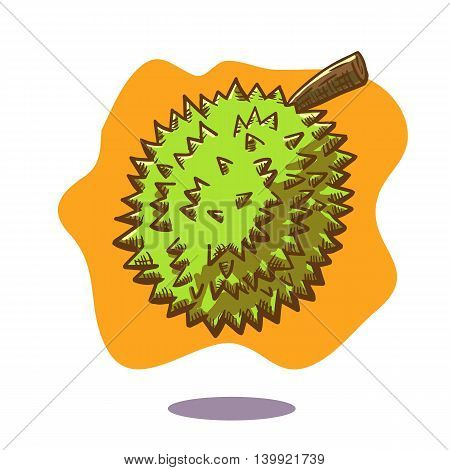 Vector hand drawn illustration of a floating durian fruit on orange background. Durian is well known as the king of fruit and is well known in Malaysia.