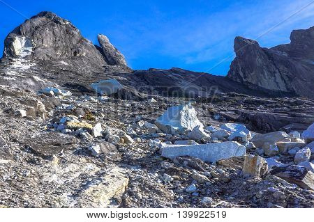 Ranau,Sabah, Borneo-March 13,2016: Close up view of Mountain Kinabalu after earthquake on 7th June 2015. Climbing season officially start on Dec 1, 2015 closure due to earthquake in June 2015 with new trail to summit known as Ranau trail