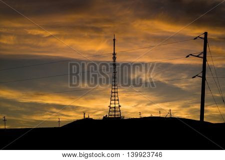 Telecommunication tower. Television. Telecommunication. Tw tower. Sunset. radio communications. means of communication poster