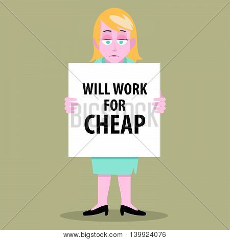 Illustration of a jobless woman with a banner