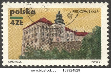 MOSCOW RUSSIA - CIRCA FEBRUARY 2016: a post stamp printed in POLAND shows a castle Pieskowa Skala the series