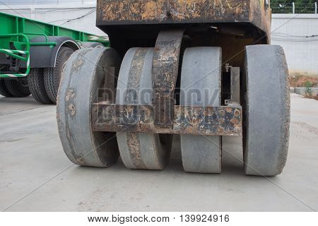 Detail of steamroller during road construction. Asphalt pavement works
