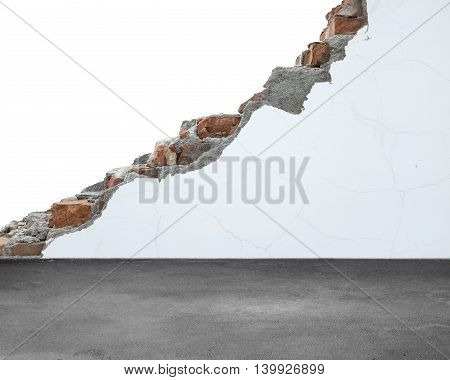 Crack Bricks Wall With White Painting And Concrete Floor