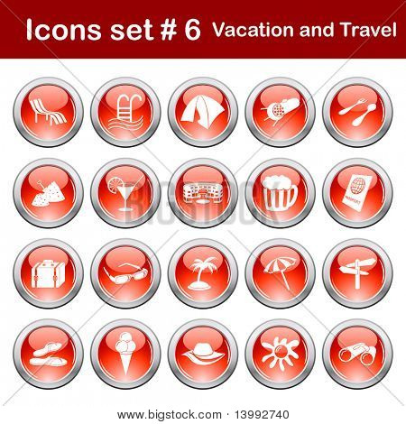 poster of Travel set of different vector web icons