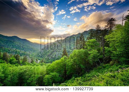 Sunset at the Newfound Gap in the Great Smoky Mountains.