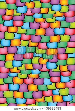 Abstract vector background design with blank speech balloons pattern in multiple vibrant colors.