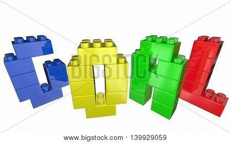 Goal Toy Blocks Achievement Accomplishment Success 3d Illustration
