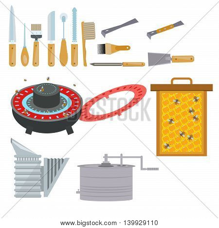 Apiary flat illustration symbols. Bee, honey, bee house, beekeeper, honeycomb, beehive, drinker, smoker, extractor, tools. Flat style apiary icons set Vector apiary tools icons for your designs
