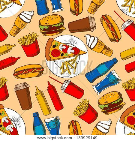 Fast food seamless pattern background. Fastfood snacks and beverages wallpaper. Sketch color pencil drawings of hamburger, french fries, hot dog, cheeseburger, pizza, ice cream, coffee, mustard and ketchup bottles
