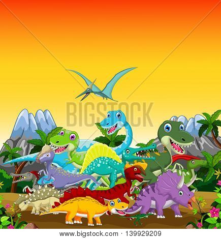 funny dinosaur cartoon with forest landscape background