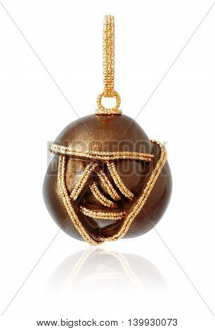 gold pendant on a white background with reflection. Gold jewelry. Female gold pendant. Stylish trendy pendant.
