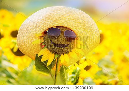 Funny sunflower with glasses and hat smiling