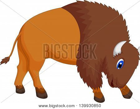 cute bison cartoon posing foe you design