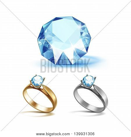 Vector Set of Gold and Siver Engagement Rings with Light Blue Shiny Clear Diamond Close up Isolated on White Background