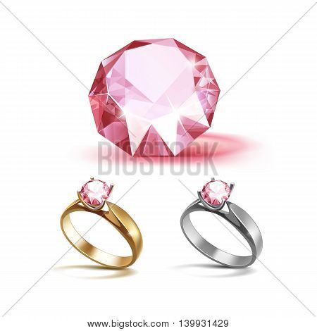 Vector Set of Gold and Siver Engagement Rings with Pink Shiny Clear Diamond Close up Isolated on White Background