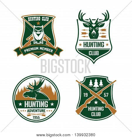 Hunting club shields set. Vector hunt sports emblems. Label elements with animals, birds, rifles, arrows, forest, mountains, owl, deer, elk. Hunter premium membership design for badge, t-shirt outfit