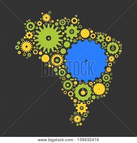 Brasil map silhouette mosaic of cogs and gears. Illustration in national colors on dark grey background.
