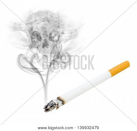 concept of smoke rising from cigarette forming a skull