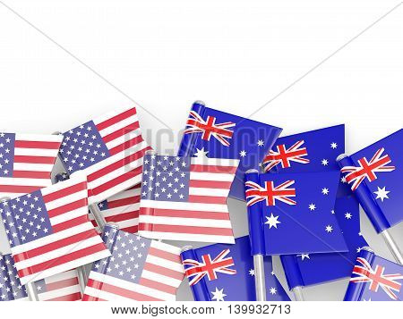 Flags Of Usa And Australia  Isolated On White
