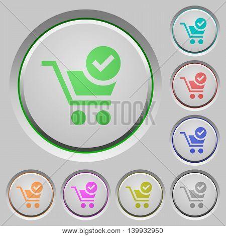 Set of color Checkout sunk push buttons.