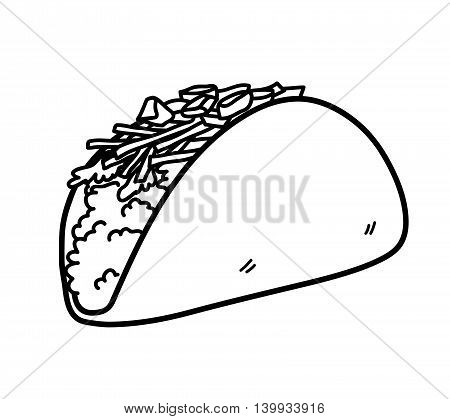 Taco Mexican Food Doodle. A hand drawn vector doodle illustration of a taco.