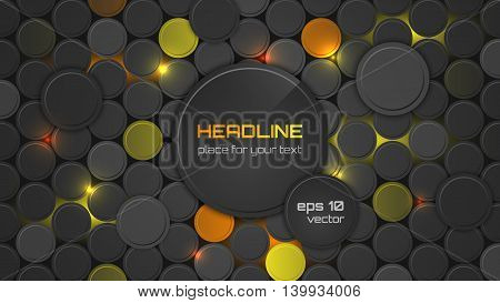Abstract Vector Background Or Pc Desktop Wallpaper With Circle Pattern And Backlighting.