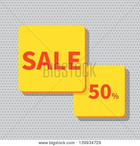 Stock Vector Illustration. Sale banner yellow - discount 50 off.