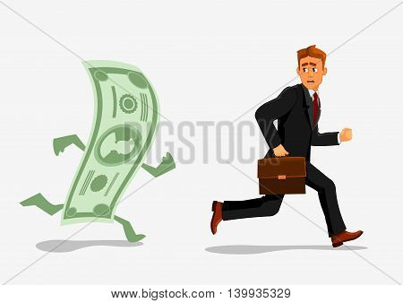 Businessman escaping dollar. Man running away from banknote. Foreign currency dependency concept. Creative illustration of business, finances, economics, crisis, recession, devaluation.