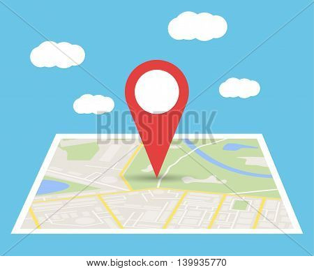 Abstract generic city map with roads, buildings, parks, river and clouds. City Map With red Marker pin, Vector illustration in flat design