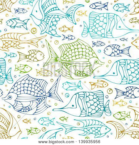 Vector Seamless Colourful Doodles Fish Pattern.