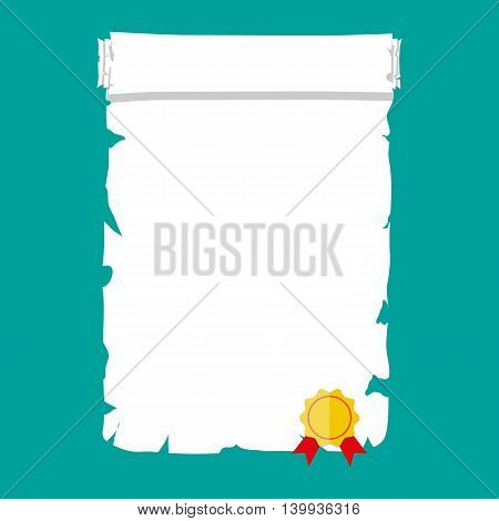 Antique historical paper scroll document with yellow seal and red ribbons. vector illustration