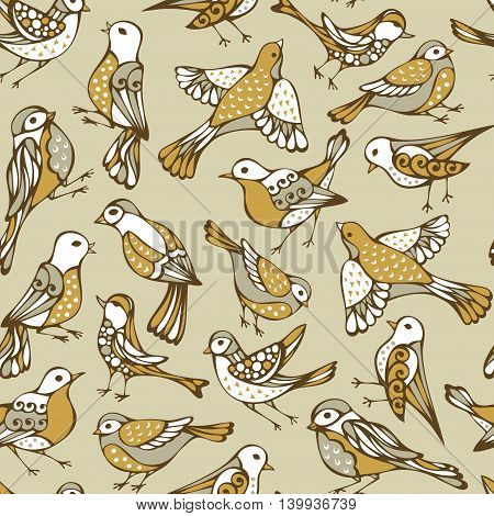 Vector Seamless Birds Pattern.