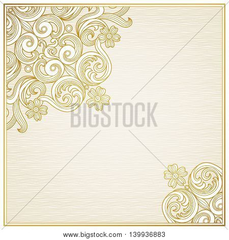 Vintage ornate frame with place for your text. Victorian floral decor in light colors. Place for text. Template frame design for greeting card and wedding invitations decoration for bags and clothes.