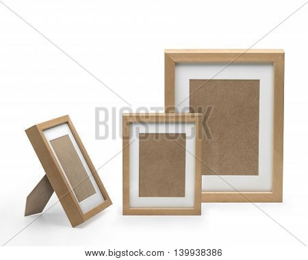 Three picture frames. Clipping path inside frames