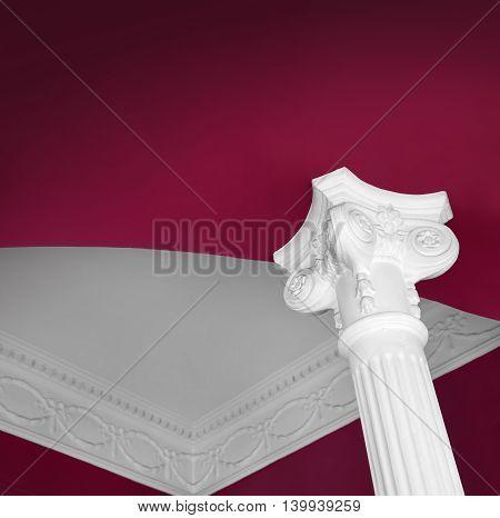 White classic column contrast garnet color ceiling